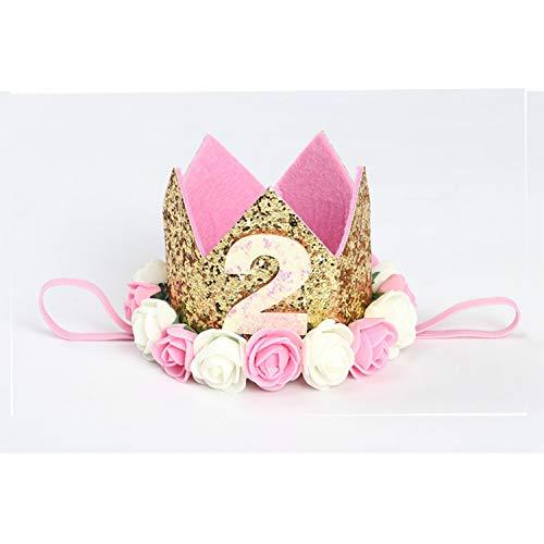 SiMin 2 Jahr Geburtstag Baby Krone,Baby Geburtstagskrone Haarschmuck Stirnband Haarband Prinzessin Für Babys