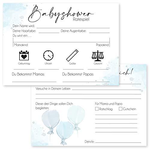20 Hochwertige Babyshower Karten zum Ausfüllen - für Jungen und Mädchen I Perfektes Spiel für die Babyparty I Beidseitig bedruckt I Persönliches Geschenk für Schwangere - Design Blau