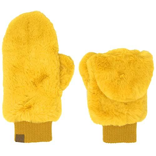 CC Fingerlose Fäustlinge aus weichem Kunstfell, gefüttert - Gelb - Einheitsgröße