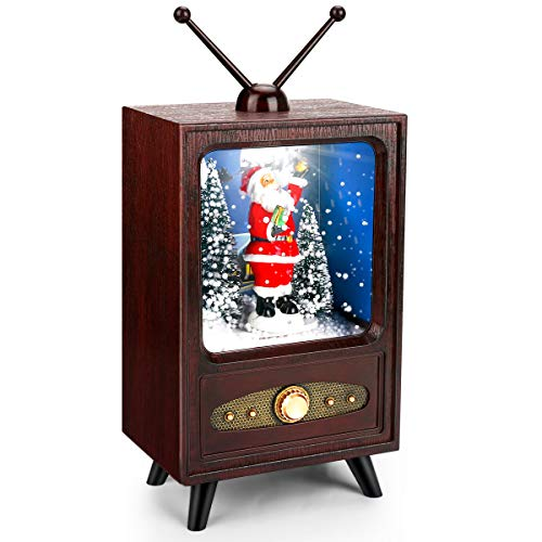 Yideng Weihnachten Schneekugel Santa Weihnachten Schneekugel Retro TV Santa, Glitter Water Church Laterne Weihnachtsdekoration, Warmweiß LED Jingle Bells Spieluhr Holiday Weihnachten Saisonale Deko