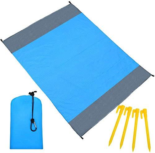 Manta de playa Coolguy, extra grande, 210 x 200 cm, impermeable, para 4-7 adultos, manta de picnic con 4 clavos fijos para viajes, camping, senderismo, playa, picnic