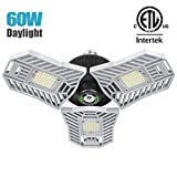 Falive Garage Lighting Tri Bright Garage Light 6000LM 60W Shop Lights for Garage, Deformable Led Light with 3 Adjustable Panels,Garage Ceiling Light Led Workshop Light(No Motion Detection)