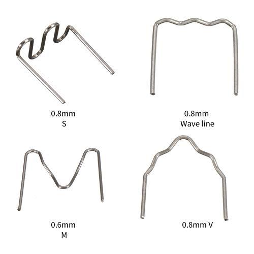 Festnight Universal 400 Stück/Set vorgeschnitten 0,6 mm-0,8 mm Heißwellen-Flachheftklammern für die Reparatur von Schweißgeräten für Kunststoffhefter