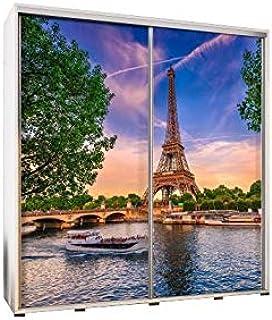 E-MEUBLES Armoire, Penderie avec 2 Portes et étagères coulissantes avec Photo (L x H x P): 205x215x66 Photo Paris 2 (Sonom...