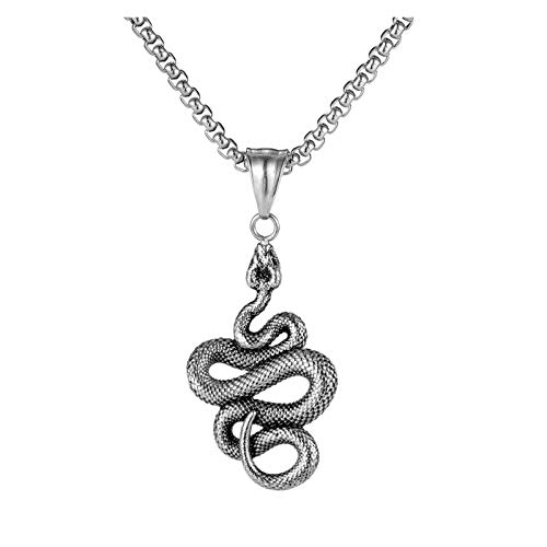 QYXJJ Choker Pendant Necklace Snake Titanium Stainless Steel Necklace for Men, Hiphop Couple Pendant Boy Sports Collar Punk Rock Gothic Choker Metal Male Chain Necklace Jewelry (Color : Silver)