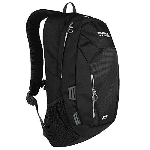 Regatta Altorock II Hardwearing Comfort Travel Rucksack - Black/LIght Steel, 25 Litre