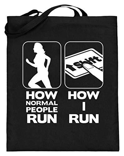 PlimPlom This Is How I Run Lutsige Programmierer Videospiel Gamer Tastatur Jutebeutel - Jutebeutel (mit langen Henkeln) -38cm-42cm-Schwarz