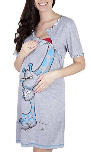 Mija - Camicia da notte 2 in 1 cotone Premaman/Allattamento/allattamento al seno 2050 (Tg S, Griggio/ Blu)