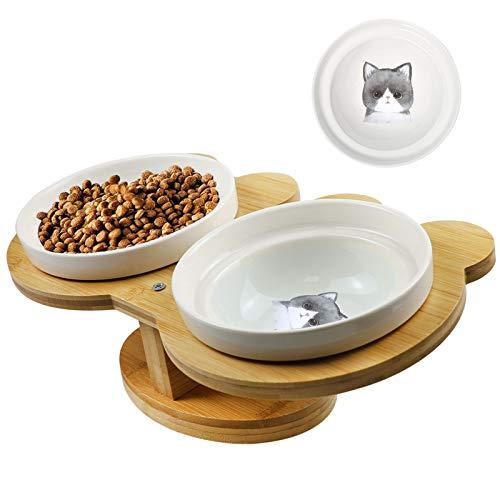 O'woda Comederos para Perros Gatos, 14cm Double Cuenco Cerámica y Bebedero para Mascota, 15° Inclinación para Protector del Cuello con Soporte Madera Elevado (Gato Gris)