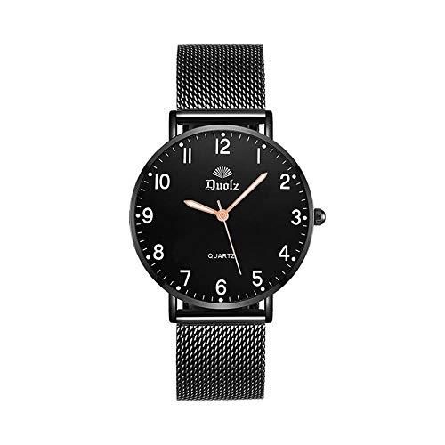 TWCAM Acero Cuero Pulsera Hombre- Reloj Mecánico De Cuarzo para Hombres con Correa De Acero Luminosa Impermeable para Hombres, Número De Hombre Negro