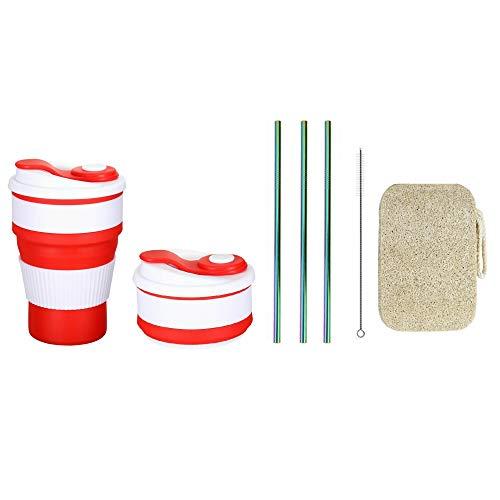 ZEBO 400 ml wiederverwendbare Silikon-Kaffeetasse (rot) und 3 Edelstahl-Trinkhalme mit Reinigungsbürste und 1 biologisch abbaubarem Geschirrspülschwamm