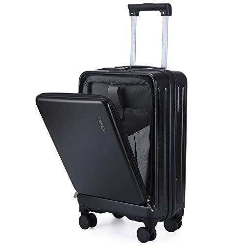 レーズ(Reezu) スーツケース フロントオープン 機内持込 キャリーケース フロントポケット 超軽量 ファスナー キャリーバッグ トップオープン 多収納ポケット 人気 静音 小型 TSAロック付 旅行出張 1年保証 ブラック Black Sサイズ 約4