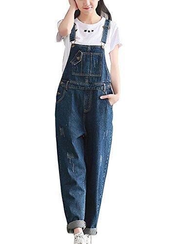 Damen Breite Beine Hosen Loose Denim Jumpsuit Overalls Locker Casual Pants Freizeithose Boyfriend Jeans Latzhose Blau L