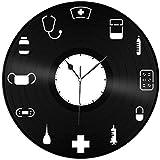Orgulloso de ser una Enfermera Doctor Nurse Vinyl Record Retro Wall Reloj Unique Negro Año Nuevo Navidad Cumpleaños Regalo Personalidad Creativa Diseño Decoración de Pared
