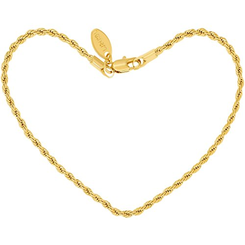 LIFETIME JEWELRY 2mm Rope Chain Anklet for Women & Men 24k Gold Plated Bracelet (Gold, 11)