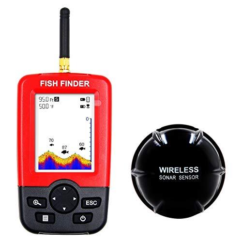 Detector de peces inalámbrico con pantalla a color, puede identificar peces grandes y pequeños. El equipo de pesca es adecuado para agua de mar y agua de río.