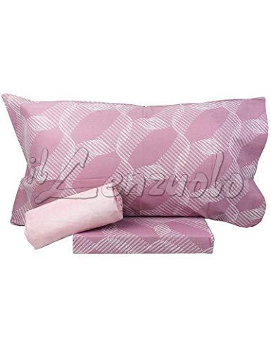 Bassetti Lenzuola matrimoniali Completo Ray in Puro Cotone Colore Rosa