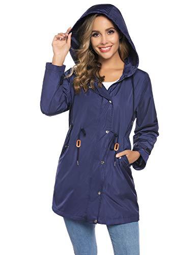 Abollria Dames regenjas, waterdichte ademende regenjas met voering, lichte luchtige jas met capuchon voor herfst
