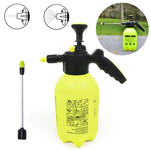 Rociador de presión manual 2L, Rociador de presión de jardín Rociador de mano de jardín doméstico, Extensión de botella de rociado de presión de bomba, Mayor cobertura al rociar agua (amarillo)
