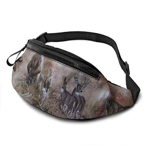 Casual Waist Bag Deer Bear Moose Wildlife for Men Women Running Travel Fashionable Fanny Pack