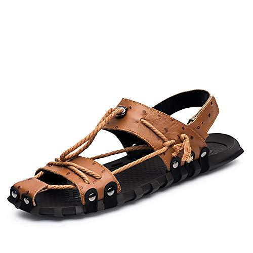 Sandali comfort in pelle da uomo Sandali sportivi Pescatore Scarpe piatte per acqua traspirante Corda di canapa Decorazione in pelle Chiusura superiore chiusa con cinturino e cinturino con passanti Ca