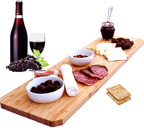 Bamboo Home Life Extra Large Cheese Board Platter - 30 Inch Long Charcuterie Board Includes Hole for Dips or to Hang on Wall - Great for Meats, Cheeses, Appetizers At Parties - 30 X 8 Inch