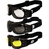 Three (3) Pairs Birdz Eagle Padded Motorcycle Goggles Airsoft Googles Comes with Clear