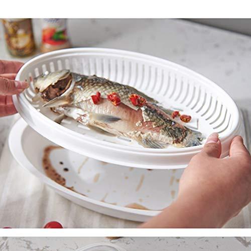 FBGood Fischtopf, Dampfgarer, Fischteller, Dampfkochtopf zum Kochen von Fischen in der Mikrowelle weiß