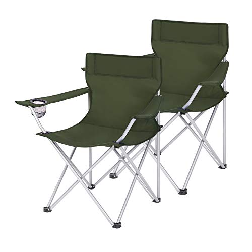 SONGMICS Set of 2 Folding Camping Chairs, Outdoor Chairs with Armrests and Cup Holder, Stable Structure, Max.Load120 kg,GreenGCB001C01