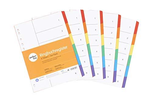 perfect line 5er Pack 6-teiliges DIN-A4 Register farbig (5x6), 22,3 x 29,7 cm, mit Deckblatt, Farb-Trenner aus Karton in 6 Farben, 160 g, perfekte Trenn-Blätter für die Ordner-Organisation im Büro