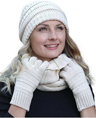 Hilltop Winter Set aus Loop-Schal, Strickmütze und Handschuhen/Beanie mit Öffnung für den Zopf, Winter Set:Creme