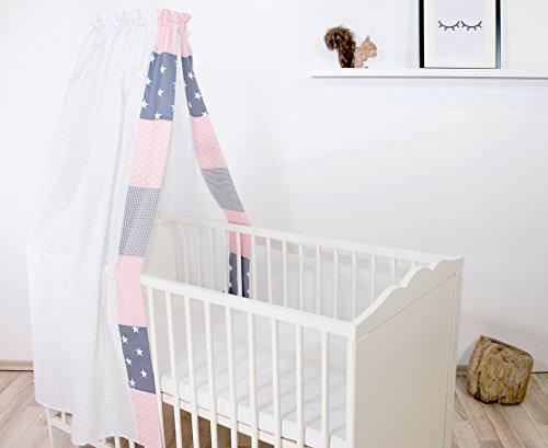 ULLENBOOM ® Baby-Betthimmel Rosa Grau (135x200 cm Baldachin, Baumwolle, für 60x120 cm & 70x140 cm Kinderbett, Motiv: Punkte, Sterne, Patchwork)