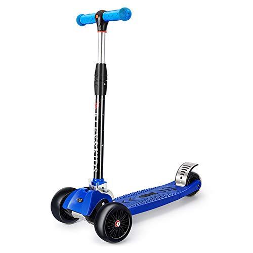 W-star Scooters de Tres Ruedas niños, a Izquierda y Derecha inclinarse 30º, ensanchado y engrosadas Ruedas luz PU, Suelo de Acero Inoxidable, niños Plegable Ajustable en Altura y en Bicicleta,Azul