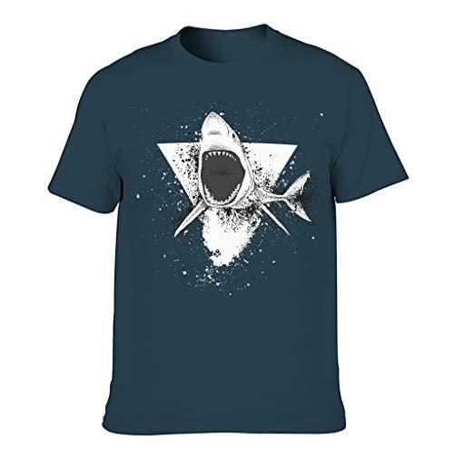 Camiseta de manga corta para hombre, diseño vintage de tiburón y geometría azul marino L