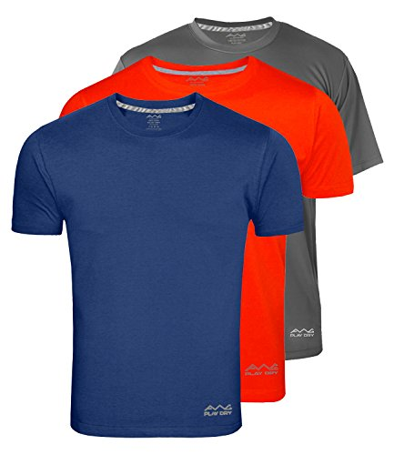 AWG - All Weather Gear Men's Polyester T-Shirts Navy Blue,Dark Grey and Red_XL - Pack of 3