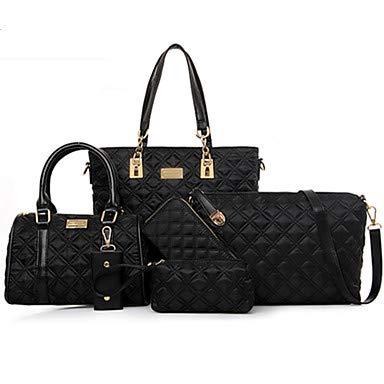 Conjunto de bolsa de nailon para mujer, de un color, 5 piezas, color morado, fucsia, azul, negro