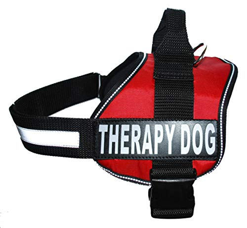 Therapy Dog Harness Service Working Vest Jacket Removable Patches,Purchase Comes with 2 Therapy Dog Reflective pathces. Please Measure Dog Before Ordering. (Girth 19-25', Red)