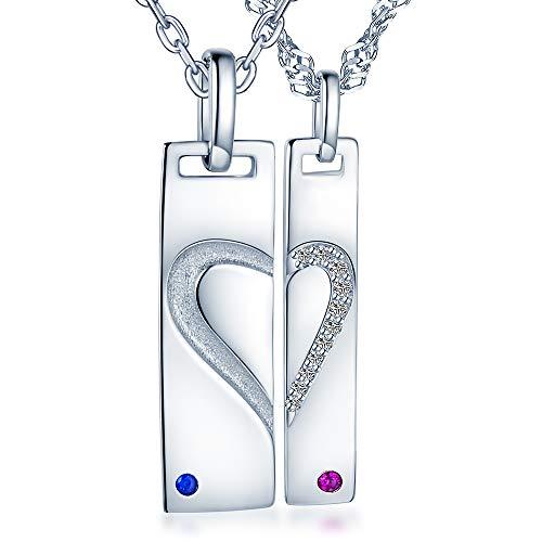 Unendlich U 925 Sterling Silber Liebe Motiv Gravierte Kette Partner-ketten mit Herz Zeichen Paar Anhänger Halskette Geschenk zum Valentinstag