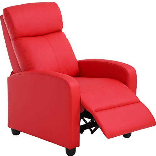 Recliner Chair for Living Room Recliner Sofa Reading Chair Winback Single Sofa Modern Home Theater Seating Lounge with PU Leather Padded Seat Backrest