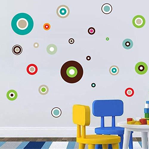 JUNZE Estilo Simple Color círculo patrón Etiqueta de la Pared Sala de Estar Dormitorio Fondo decoración de la Pared Etiqueta