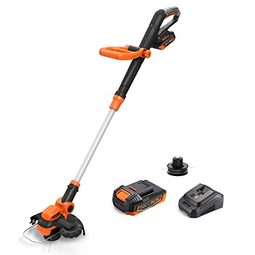 20V Max 10-Inch Cordless String Trimmer, TACKLIFE 2-In-1 String Trimmer&Edger, Muti-Angle Head, Adjustable handle, Lightweight, 2.0Ah Battery And Charger Included