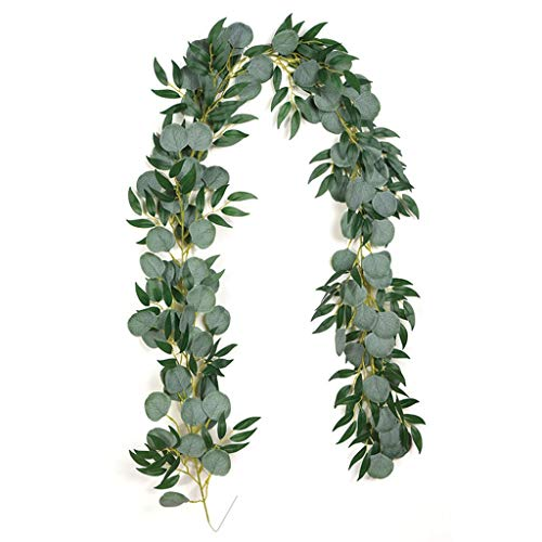 Silk Flowers Artificial Flowers Hanging Silk Wisteria Vine Leaves Garland Fake Hanging Vines Greenery for Home Garden Indoor Decor Plastic Flowers (Color : D)