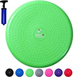 Inflatable Wobble Cushion with Pump by Day 1 Fitness - 13' Green - Durable Exercise Balance Pad to Improve Coordination, Stability, and Core - Balancing Disc Cushions for Home, Gym, School, Rehab