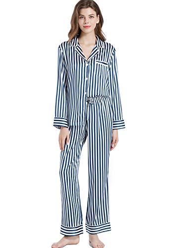 Serenedelicacy Women's Silky Satin Pajamas Long Sleeve PJ Set Sleepwear Loungewear (Small, Navy/Ivory Stripe)