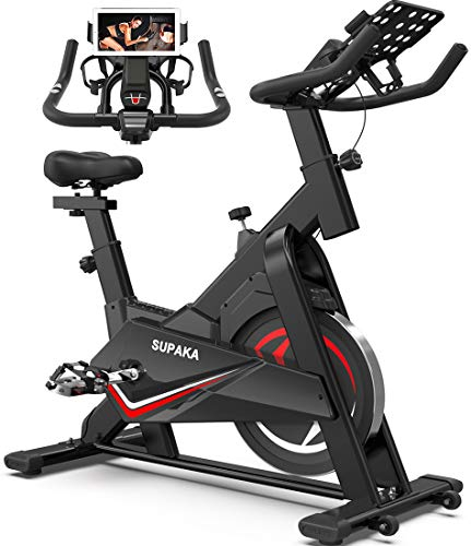 SUPAKA Spin Bike, Indoor Cycling Bike Stationary, Exercise Bike for Home Cardio Gym, 35 LBS Flywheel, Thickened Frame Upgraded Version (Black)