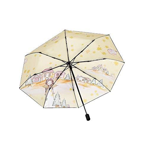YNHNI Paraguas Plegable Paraguas Sol Paraguas Sol protección Sol Paraguas Plegable Adecuado para días soleados y lluviosos,Portátil (Color : Khaki)