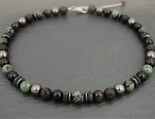 Gemischte Halskette, Rhyolith-Kambaba, Obsidian, Vulkanstein, Hämatit, Steine 10mm Mann Frau, schwarz und grün