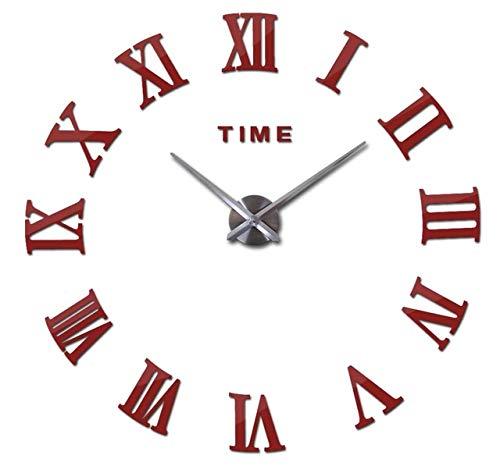 YHYMY Estilo Moderno Bodegón DIY Digital Balcón/Patio Pegatinas de Pared Decoración del hogar Efecto de Espejo Reloj Grande de Cuarzo Reloj de Pared