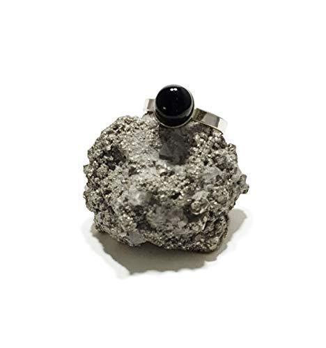 Anello d'Argento 925 con Onice Nera (Pietra Naturale) 8mm - Confezione Regalo Gratuita
