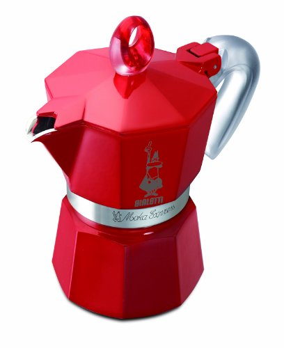 Bialetti 4332 Moka Express Glossy - Espressokocher aus Aluminium für 3 Tassen, rot lackiert